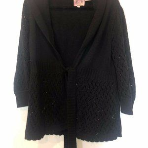 Juicy Couture Black Wool Blend Chunky Cardigan XL
